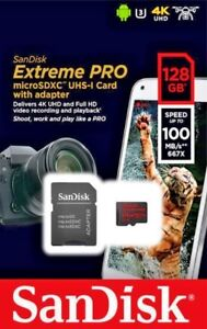 SanDisk Extreme PRO microSDXC Memory Card 128GB w/SD Adapter 100MB/s,U3,V30,A1