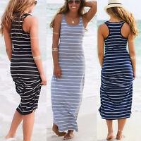 2018 Summer Womens Sexy Striped Beach Sundress Pencil A-line Long Maxi Dress NN9