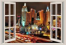 Las Vegas Lights Window View Repositionable Color Wall Sticker Wall Mural 3 FT