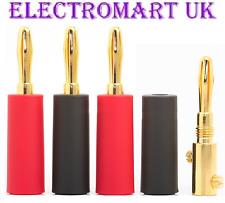 4 X 4MM SPEAKER LOUDSPEAKER GOLD BANANA PLUGS CABLE WIRE SCREW TERMINALS