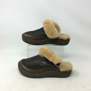 Born Slip On Clog Mules Comfort Slippers Faux Fur Lining Leather Brown Womens 5