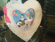 RARE Antique Art Deco Valentine Greeting Card Heart Shape Roaring 20's Graphics