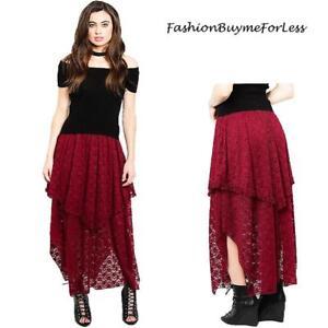 Goth Steampunk Victorian Lagenlook Wine Ruffle Lace Asymmetric Maxi Skirt S M L
