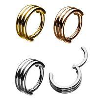 TRIPLE STACK STEEL HINGED SEGMENT RING HOOP NOSE/LIP/EAR/SEPTUM PIERCING 18G-16G