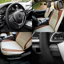 Car Seat Cover Leatherette Buckets Beige Tan w/ Black Steering Cover For Auto