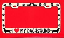 i love my dachshund /s license plate frame Car Chrome dog paw pet shelter