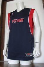 M Men Nike Dri-Fit Detroit Pistons Nba Basketball Jersey Navy Red White Sewn Euc