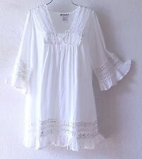 NEW~Long White Cotton Crochet Lace Peasant Blouse Tunic Boho Top~12/14/L/Large