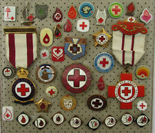 VINTAGE OLD RED CROSS ROTES KREUZ PIN BADGE ABZEICHEN LOT 40 PIECES!!!