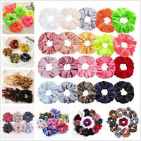 Women Silky Satin Hair Scrunchies Elastic Hair Bands Ponytail Hair Tie Ring Rope