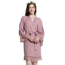 Women Cotton lace robes Gown Wedding Bride robe Bridesmaid Bridal robe