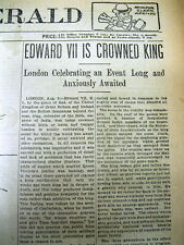 2 1902 newspapers EDWARD VII CORONATION KING of GREAT BRITAIN aft VICTORIA DEATH