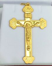 24k Solid Yellow Gold Cute Heavy Jesus Cross Charm/ Pendant. 11.20 Grams