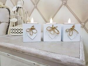 3pc White Wooden Heart Tealight Candle Holders Vintage Shabby Chic Rustic Decor