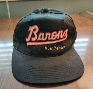 Vintage 80s 90s Birmingham Barons Black Adjustable Snapback Hat Cap