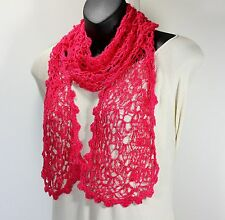 MEO CROCHETED COTTON-BLEND SOLID HOT PINK ALPINE LACE SCARF BELT HEADBAND WRAP