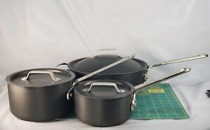 6pc Calphalon Commercial Anodized Aluminum Pots Pans w/lid 141 / 8702.5 / 8701.5