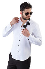 New Mens White Tailored Slim Fit White Wing Tip Tuxedo Shirt French Cuff By Azar