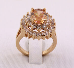 New Pretty Jewellery Natural 3.22ct Citrine 14k Solid Yellow Gold Ring Size 7#