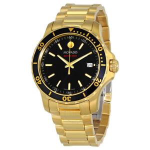 MOVADO $1295 MEN'S MUSEUM GOLD/BLACK SERIES 800 SAPPHIRE SWISS WATCH 2600145