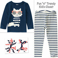 NWT Crazy 8 Girls Size 2T or 3T Kitty Tee Shirt Top & Leggings 2-PC OUTFIT SET