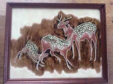 Huge Vintage 1970s Wood framed MAW & Co Tubelined Majolica Pottery DEER Tile
