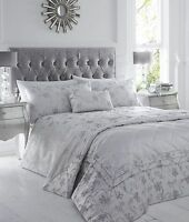 King Size Duvet Cover Set Ravina Silver Floral Luxury Woven Jacquard Polycotton