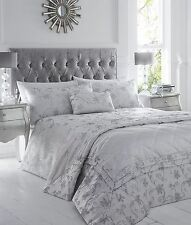 Double Bed Duvet Cover Set Ravina Silver Floral Luxury Woven Jacquard Polycotton