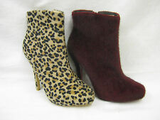 Animal Print Slim Heel Ankle Boots for Women