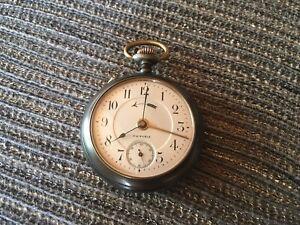 Viktoria Taschenuhr Handaufzug mit Wecker, Eisen defekt Uhrmacher Uhr Antik Alt