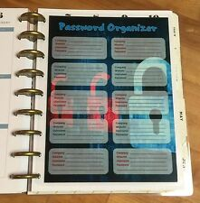Password Organizer Dashboard Insert for use with Happy Planner