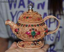 Tibetan crystal Silver Filigree Inlay red coral gem Wine Tea Pot Flagon Kettle