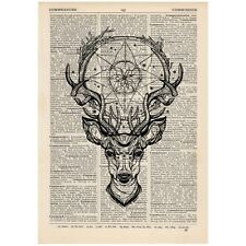 Deer Dreamcatcher Dictionary Print Vintage Stag Hipster Art Unique Gift