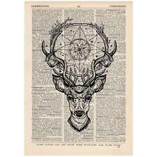 Deer Dreamcatcher Dictionary Print Vintage, Stag, Hipster, Art,Unique, Gift,