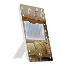 Foldable LED Lighted Vanity Mirror with Light, Oenbopo Smart Touch Kickstand 16