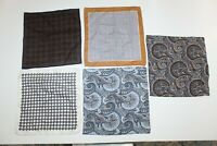 Suitsupply Men's 5 Assorted 100% Wool Pocket Squares Paisley Geometric Print VGC