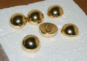 #7 Vintage, Gold, Plastic, Dome, Shank, Craft, Sewing, Blazer Buttons, x6