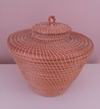 Wicker Storage Pot With Lid Woven Basket Boho Ethnic Natural Home Decor Planter