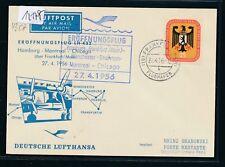 12178) LH FF  Frankfurt - Shannon Irland 27.4.56, So-Karte EF 25PF Bundesrat