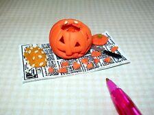 Miniature Carved Jack o'Lantern on Newspaper: Halloween DOLLHOUSE Miniatures
