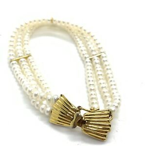 Vintage Gold Plated Cultured Pearl Bead Bracelet EBY193