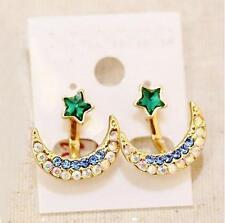 Korean Fashion Women Golden Moon Star Crystal 2 In 1 Stud Earrings Ear Jacket