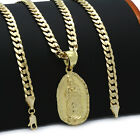 Mens 18k Gold Plated  Guadalupe  Hip-Hop Pendant 6mm Cuban Chain Necklace