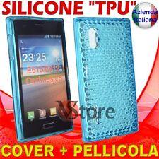 Cover Custodia Per LG L5 Optimus E610 Azzurro Gel Silicone TPU + Pellicola