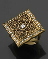 NWT Guess Gold Metal Four-Point Ring Design, Clear stones, etching detail size 7