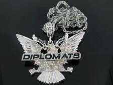 """DIPLOMATS SILVER TONE PENDANT 36"""" ROPE CHAIN HIPHOP BLING"""