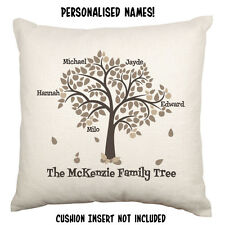 Family Tree Name Surname Love Gift Personalised Custom Decorative Cushion Cover