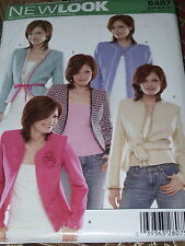 NEW LOOK #6487 - LADIES ( 5 STYLE ) BUTTONLESS BELOW WAIST JACKET PATTERN 8-18uc