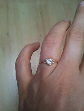 BAGUE OR JAUNE 18 CTS COEUR AIGUE MARINE T. 50 TBE