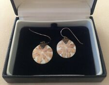 GORGEOUS STERLING SILVER VINTAGE EARRINGS w INTERESTING HAND PAINTED DESIGN